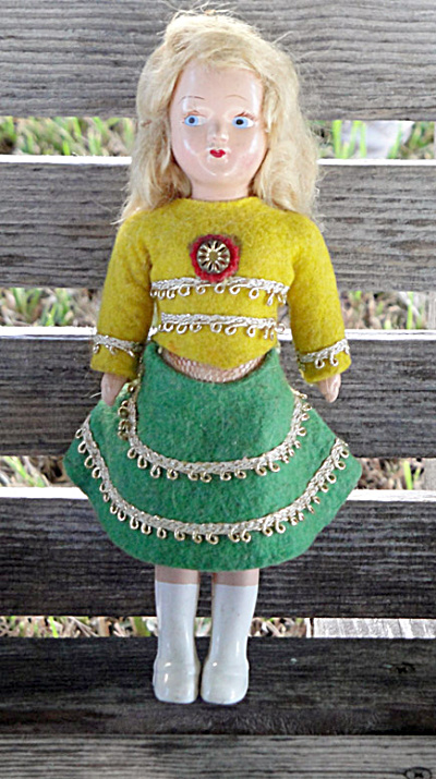 7.5 Inch Blonde Hard Plastic Doll, Late 1940s-1950 (Image1)