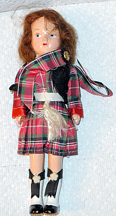 7.5 Inch Auburn Scotch Hard Plastic Doll, Late 1940s-1950