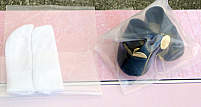 Vogue Black Vintage Repro Ginny Doll Shoes, White Socks (Image1)