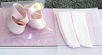 Vogue Pink Vintage Repro Ginny Doll Shoes, Pink or White Socks (Image1)