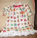 Click here to enlarge image and see more about item AGM0009: Christmas Print Nightgown for 18 Inch Dolls