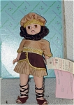 Madame Alexander 8 inch Samson doll from the 1995 Bible story series, is a unique hard plastic boy version of Wendy with a curly brunette wig, dark beard and mustache, and moving brown eyes. His ancient Biblical-era costume conists of a brown, gold, and tan tunic, matching hat, and lace-up sandals, as an Old Testament Bible character. Of course, he has lots of hair like Samson did. This retired doll is new and mint-in-the-box with has tag.