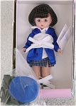 Madame Alexander 1999 8 inch 1990s Computer Age Wendy from the Century collection, has short brunette hair, and moving blue eyes. This technical little miss is dressed for a day working at the computer. She is wearing a short blue, black, and white plaid skirt; white blouse; blue satin jacket; black and white leather-like tennis shoes; and hose. Her accessories include her laptop computer with its carrying case.  Discontinued doll style is new and mint-in-the-box with tag. Expand listing to view both photographs.