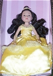 Madame Alexander 9 inch vinyl 2003 Belle doll, Princess from Disney version of Beauty and the Beast has long curly black rooted hair and painted brown eyes. She is wearing a long yellow dress, a matching hair ribbon, beige gloves, and yellow shoes which are like the classic Disney princess outfit. Doll was made in China, and is boxed in pink a window box with the Disney Princess logo. Her well-made costume has an Alexander Doll Company label inside. Retired doll is new and mint-in-the-box. Expand listing to view both photographs and the catalog picture.