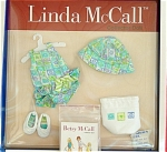 Robert Tonner 1999 Linda McCall Day at the Shore Outfit (outer box has a misprint that says 'Day at the Store'), 10 inch size doll outfit is mint in box. The doll clothing set includes a cotton print sun suit with ruffle and green, blue, and lavender striped bow, matching hat, white canvas slippers, matching tote bag. This outfit is new and mint-in-box. Besides Linda, this outfit also fits 10 inch Mary Engelbreit collection Ann Estelle and friends dolls and later Effanbee Patsy dolls and others this size. The price is for the outfit only. Limited edition. Old stock,is mint-in-the-package though package may have some denting from long storage. Expand listing to view both photographs.