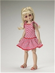 Robert Tonner 2006 No. T6-BM0F-01 Sunshine Smile outfit fits 14 inch Betsy McCall, Barbara, Dru, Jane, and similar size Tonner dolls. This doll outfit contains a red, pink, and white striped sleeveless knit sun dress with red rick-rack trim that ties on the shoulders and has a low waist, matching lacing sandals, and gold rimmed sunglasses with pink tinted lenses. The price is for the outfit only and does not include the doll modeling it. Limited edition outfit is new old stock that is mint-in-the-package and includes a plastic clothes hanger. Expand listing to view both photographs.