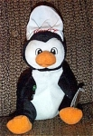 Click here to enlarge image and see more about item CCB0015A: Coca Cola Chef Penguin Advertising Bean Bag 1997