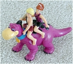 Click here to enlarge image and see more about item DFS0010: Flintstones Pebbles and Bam-Bam Riding Dino Figure 1994