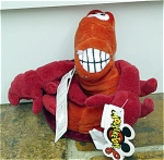 Disney 8 inch Sebastian red water creature mini bean bag plush is from the Little Mermaid. He has a giant toothy smile, and was sold from around 1996-1997. Sebastian has a single set of seams on his underside. This retired bean bag is in mint condition with a Mousketoys tag from Disneyland.