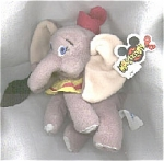 Dumbo mini bean bag plush flying elephant with black feather, has a Mousketoys tag from Disneyland, different eyes from Disney Store version. Dumbo's collar is yellow. The Dumbo and Walt Disney World labels are on his body. He is approximately 8 inches in size. He comes from 1997-1998. This retired bean bag is new and mint with its tag.