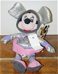 Disney Space Minnie Mouse bean bag, is 7-8 inches tall, and is from approximately 1998. Minnie Mouse is ready to journey through the universe wearing a pink and silver space suit and matching helmet, and has a Mousketoys tag from Disneyland. This retired bean bag plush is mint condition old stock. Expand listing to view both photographs.