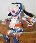 Disney Space Goofy bean bag with Mousketoys tag from Disneyland, is 7 to 8 inches in height, and is from about 1998. Goofy is ready to travel the universe dressed in his orange, navy, silver, and gray space suit and matching helmet. This retired bean bag plush is in new and mint condition. Expand listing to view both photographs.