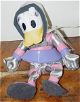 This Disney Space Daisy Duck bean bag, Mousketoys tag, is approximately 7 inches tall, and she is from about 1998. She is dressed in a pink, lavender, and silver space suit with skirt from Disneyland. Retired bean bag is in new and mint condition with tag. This was the hardest to find of them all.