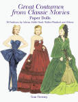 'Great Costumes from Classic Movies Paper Dolls' by Tom Tierney, published by Dover Publishing and copyrighted in 2003 has 32 pages with 2 female paper dolls and 30 full color costumes from classic movies from the 1920s through 1960s, all to be cut out.  The outfits include heads of the female movie stars. The designs are by Adrian, Edith Head, Walter Plunkett, and others. Some of the costumes are Vivien Lee as Scarlett in Gone with the Wind, Natalie Wood as Gypsy, Betty Grable as Three for the Show, Katharine Hepburn as The Philadelphia Story, Julie Andrews from Thoroughly Modern Millie, Rita Hayworth, and others. On the cover are details about each costume. New, mint condition.