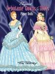 'Elegant Debutante Gowns of the 1800s Paper Doll' by Tom Tierney, published by Dover Publishing and copyrighted in 2008 contains 32 pages with a paper doll of a blonde young lady named Gloria, a brunette young lady named Alice and 18 full color costumes representing elegant'coming out' party gowns from 1840 through 1900 for the young ladies to be introduced to high society, all to be cut out. The outfits include hairstyles and accessories that are part of the gowns. The cover gives background on the styles of each decade. New and mint.