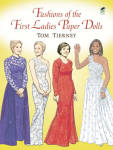 Fashions of the First Ladies Paper Dolls in Full Color booklet by Tom Tierney is based on some of the most famous costumes that that first ladies; Mamie Eisenhower, Jacqueline Kennedy Onassis, Lady Bird Johnson, Pat Nixon, Betty Ford, Rosalyn Carter, Nancy Reagan, Barbara Bush, Hillary Clinton, Laura Bush, and Michelle Obama wore while they were First Ladies and their husbands were president. This booklet has 16 pages of 11 color heavy board paper dolls, and 32 total costumes. Their outfits include inaugural gowns, classic day wear, and casual outfits. The paper doll and outfits need to be cut out. There is also information on the inner cover about each first lady. Booklet is new.