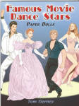 'Famous Movie Dance Stars Paper Dolls' by Tom Tierney, published by Dover Publishing and copyrighted in 2006 has 32 pages with 1 male and 1 female paper dolls and  sets of dance costumes from 15 dance films, all to be cut out.  The outfits. Captions identify the film and year.  classics such as The Red Shoes and The King and I to Moulin Rouge and more recent films. Among the featured couples are John Travolta and Olivia Newton-John in Grease and Jennifer Grey and Patrick Swayze in Dirty Dancing, along with Jennifer Beals of Flashdance, dancers from A Chorus Line, and other well-known performers, including Mikhail Baryshnikov, Jennifer Lopez, and Antonio Banderas. The back inside cover has interesting facts. New, mint condition.