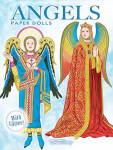 'Angels Dolls with Glitter' by Tom Tierney, published by Dover Publishing and copyrighted in 2010 has 32 pages.  This is a reprint of Shackman's 1995 'Angels Through the Ages.' Spanning the fifth through nineteenth centuries, this beautiful collection features two dolls with fourteen outfits inspired by the art works of Botticelli, Fra Angelico, Jan van Eyck, and Aubrey Beardsley, among other artists. The historically accurate costumes include German, Persian, Italian, Spanish, American, French, and other styles. Each garment is sprinkled with a touch of glitter for a heavenly effect. These paper dolls and costumes need to be cut out. The back inside cover has interesting facts. New, mint condition.