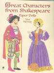 'Great Characters from Shakespeare Paper Dolls' by Tom Tierney, published by Dover Publishing and copyrighted in 2000 has 32 pages.  These paper dolls and costumes need to be cut out. There are two dolls in charmingly detailed period costumes for Romeo and Juliet, Hamlet and Ophelia, Othello and Desdemona, Anthony and Cleopatra. Also includes apparel from The Tempest, The Merchant of Venice, Macbeth, Henry V, Richard III, and 6 other celebrated plays. This is  a great way to introduce youngsters to Shakespeare. Synopses of plays. 30 costumes. The heavy board color paper dolls and costumes all need to be cut out. The front and back inside covers have synopses of the plays. New, mint condition.