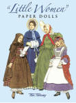 Little Women Paper Dolls' by Tom Tierney, published by Dover Publishing and copyrighted in 1994 has 32 pages.  These paper dolls and costumes need to be cut out. There are 4 dolls and 16 mid-Victorian-era costumes based on scenes in Louisa May Alcott's book. There are 4 costumes for each paper doll. Here in full color are practical Meg, tomboyish Jo, gentle Beth, and curly-haired Amy. The scenes for the costumes include the Christmas play, dress up costumes, practical everyday costumes, and outfits for Meg's wedding. Notes on the cover tell about the book and scenes in the book. These dolls and costumes are larger and easier to cut out than many of the other paper doll books, so that a young girl might also enjoy these. New, mint condition.