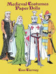 'Medieval Costume Paper Dolls' by Tom Tierney, published by Dover Publishing and copyrighted in 1996 has 8 color pages.  These paper dolls and costumes need to be cut out. There are 2 dolls, and each doll is wearing a undergarments and have 8 additional costumes each for a total of 16 outfits. The costumes include tunics, chain-mail armor, and fur-trimmed capes for men, as well as gowns, embroidered tunics, and under robes for women. The dolls and costumes are well-researched, and this book represents outfits of the Crusader Era, roughly from A.D. 1200 to A.D. 1350.. Notes on the cover tell about the historical period and its costumes.New, mint condition.