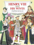 'Henry VIII and His WivesI Paper Dolls' by Tom Tierney, published by Dover Publishing and copyrighted in 199 has 32 pages including the color dolls, costumes, and their backing.  The paper dolls include 3 dolls of Henry VIII in his youth, middle years, and older age; and a paper doll of each of his 6 wives. There's a total of 16 lavish costumes for Henry VIII and his wives.  Notes throughout describe the kind, his period of history, the wives, and the costumes. The costumes come from illustrations, painting, and descriptions. This booklet provides a wealth of information of the costumes of England and Europe in the 1500s. The dolls and costumes are detailed with small parts and need to be cut out from heavier backings. New, mint condition.