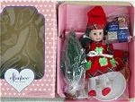 Click here to enlarge image and see more about item EFF0245C: 1997 Effanbee Brunette Christmas Sammie Doll