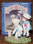 1996 Effanbee limited edition Heart-to-Heart Everyday bisque figurine, High Seas, represents the classic Effanbee dolls, Patsy and Skippy who are playing with a toy sailboat in a pond with Kitty. This figurine depicts the adorable boy and girl dolls who are dressed in matching sailor outfits with sailor hats. He is dressed in shorts, and she is wearing a dress. This charming figurine is one of several figurines in the everyday themed series. Retired figurine is new and mint-in-the-box. Expand listing to view both pictures.