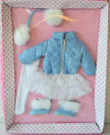 Effanbee 2013 Patsy Blustery Day outfit, No. E13PTOF01, by Robert Tonner  fits his 10 inch version of Patsy with a bending knee child's body. It includes a light blue jacket with white quilted stitching, a white dress with ruffled skirt, white tights, a light blue headband with white earmuffs, and light blue imitation leather boots with white imitation fur trim.  The price is for the outfit only and does not include the doll modeling it. Limited edition of 300. New and mint-in-the-package with shipper. Expand listing to view all 4 photographs.