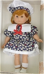 Gotz or (Goetz) Play Line 13 inch soft vinyl doll Cindy is from approximately 1998, has a sweet face, auburn hair, and brown moving eyes. She is wearing a dark floral print dress with matching beret-type cloth hat. This unusual smaller doll was made in Germany when Gotz was still there. Discontinued, new and mint-in-the-box. She does not have any tags. Expand listing to view both photographs.