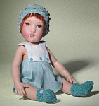 Click here to enlarge image and see more about item HKE0544: Helen Kish 2008 Tompkin Baby Boy Doll