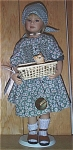 Click here to enlarge image and see more about item HPL0001: Heidi Plusczock Lisa Artist Doll with Kitten Basket 1999