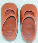 Red vinyl replacement Mary Jane type shoes to fit the 1972-73 16 inch vinyl Ideal Shirley Temple dolls. These 'new' old stock shoes are printed with 'Ideal' on the bottom. If only one or two pair of shoes are ordered, lower priced insured first class shipping is available by your request in the comments section of the order form, and the shipping rates will be adjusted. The doll shoes are unused mint condition old stock.