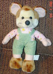Click here to enlarge image and see more about item KMT0002: Kuddle Me Plush Mouse in Green Overalls