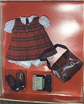 Click here to enlarge image and see more about item KNI0008: Terri Lee Red Plaid Jumper School Outfit Knickerbocker 2000