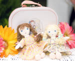 Click here to enlarge image and see more about item LSD0001: Lennon Sisters 2 Mini Best Pals Rag Dolls in Suit Case