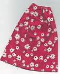 This 1976 Mattel Free Moving Barbie long red fashion doll skirt has a red floral print is and it is in used, but otherwise excellent condition. This skirt fits 11.5 inch Barbie and similar slender fashion dolls. I