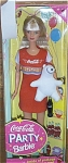 Click here to enlarge image and see more about item MAT0016: 1998 Mattel Coca Cola Party Barbie Doll