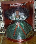 Click here to enlarge image and see more about item MAT0250A: 1995 Mattel Black Happy Holidays Barbie Doll