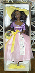1995 Avon Spring Blossom open-mouth smiling Afro-American 11.5 inch vinyl Barbie fashion doll with dark painted eyes and black hair. Her ensemble includes a colorful dress with a lavender bodice with yellow buttons and a bow at her waist, an ankle-length pink skirt, a yellow straw hat with a daisy, and yellow shoes. Accessories include a basket of flowers, and a brush.  This outfit also looks great for Easter. New, mint, and never-removed-from-the-box. Expand listing to view both photographs.