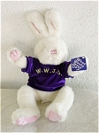 Main Joy Limited 17 inch  Plush White 'What Would Jesus Do?' bunny rabbit. This soft, fluffy white bunny with a bit of glitter has black glued-on eyes, pink ear lobes, paws, feet, and a pink embroidered nose. This bunny is dressed in a purple shirt with W.W.J.D. printed on it in gold; and it has a tag that says: 'What Would Jesus Do?' This plush animal was made in Hong Kong after it became China. Pre-owned though it looks almost new, and is in excellent, clean almost mint condition. Has not been exposed to unpleasant odors.