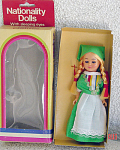 Click here to enlarge image and see more about item NAT0006: Ireland Nationality Girl Doll Early 1980s
