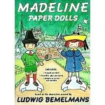 Madeline Paper Dolls booklet by Viking,  in 1994. These paper dolls are based upon the characters created by Ludwig Bemelmans, and the art is by Jody Wheeler. The heavy cardboard booklet includes 9 inch punch out paper dolls of the red headed girl, Madeline; and the brunette boy, Pepito, the son of the Spanish Ambassador next door. The paper doll set includes a total of 14 outfits with accessories to cut out for the two dolls, and a heavier armoire to cut out and assemble for storing their clothing. Madeline's outfits  include the blue coat, yellow hat, and yellow dress that she is best known to wear and more. Four of the outfits in the set go to Pepito for adventures with Madeline, including his green suit and a tall hat shown on the cover and more. New, uncut, and mint condition.