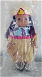 Precious Moments Company Vinyl and Cloth Native American 12 inch Yakima Girl doll No. 1484, 1994-1996, Aquene which means 'Peace.' She has tan skin, fur covered black braids under a beaded straw hat, white earrings, dark teardrop eyes, and a smiling face. Her American Indian costume consists of a fringed tan suede dress with a blue, pink, yellow geometric print collar, colorful beads, and tan leather-look shoes. She is part of a limited edition of 7,500, that has been discontinued for several years. Retired doll new and mint with her tag.