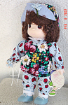 Precious Moments Company 1997-1998 third edition Garden of Friends 12 inch vinyl and cloth Blue Bell, February doll has brown rooted hair styled in curls, brown teardrop-shaped painted eyes, and a smiling face. She is wearing a beetle print on blue and white checked jumpsuit with dark floral print over smock, blue tying shoes, matching cloth hat with blue flower, and holds blue bell flower. Retired doll is new and mint with watering can-shaped tag. Expand listing to view all 4 photographs.