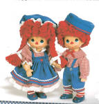 Click here to enlarge image and see more about item PMC0758: Precious Moments True-Blue Friend Raggedy Girl, Boy Doll Set