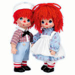 Click here to enlarge image and see more about item PMC0759: Precious Moments Timeless Traditions Raggedy Girl, Boy Doll Set