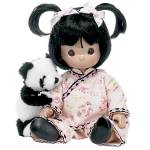Precious Moments Inc. 2012-2013 12 in. all Vinyl Peace and Harmony sitting Chinese toddler girl doll has dark hair with bangs and two top pieces tied with pink ribbons, brown teardrop-shaped eyes, and a smiling face. She comes with her adorable plush black and white panda. She is wearing a pink floral silk-like Chinese-inspired pants and tunic decorated with black with pink edging, white socks, and black Mary Jane-style shoes. Her knees are bent into a sitting form. She and her panda are adorable, and this design is by Linda Rick of TheDoll Maker. New, mint with tagold stock with a gift box.