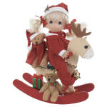 2013 Precious Moments Inc. Rock A Jingle 7 inch girl doll, rocking reindeer, and miniature teddy bear set, No. 3496 is adorable.   The 7 inch vinyl girl doll has long pale blonde double ponytails tied with red ribbon and a red Santa hat trimmed with a white pom pom and sprig of holly, blue tear-drop shaped eyes, and a smiling face. She is dressed in toasty red footed pajamas. She comes with an off white reindeer with brown antlers and red rockers with a golden bell that she can ride complete with her little tan jointed teddy bear that is wearing a red Santa hat and a red scarf, another tan teddy bear, and a gift. This is adorable and a great decoration. This is a Linda Rick of The Doll Maker design. New, Mint, with single packing box.