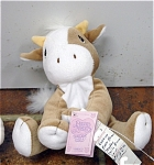 Click here to enlarge image and see more about item PME1043: Precious Moments Tender Tails Brown and White Cow Yellow Horns